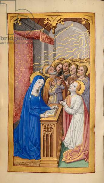 Ms 59 fol.48v Pentecost, from the Hours of Madeleine Levesque, c.1480 (gouache & bodycolour on vellum)