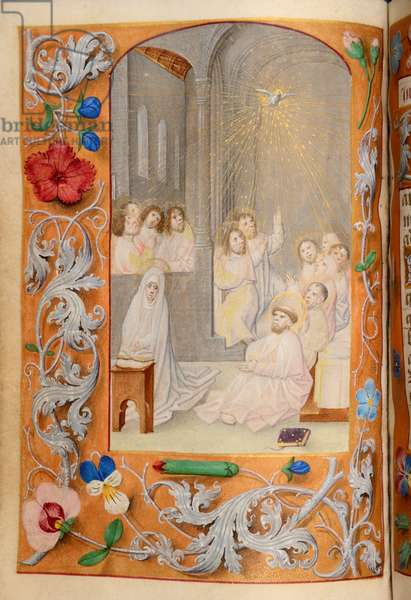 Ms 60 fol.66v Pentecost, from the Hours of Katherine Bray, c.1480-90 (gouache & bodycolour on vellum)