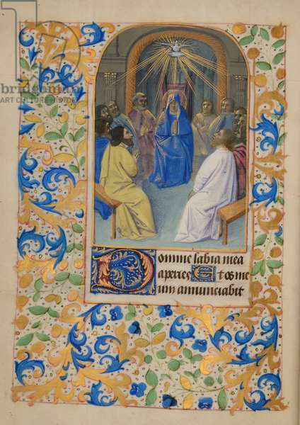 Ms 37 fol.65v Pentecost, from the Hours of Elizabeth Plantagenet, c.1475 (gouache & bodycolour on vellum)