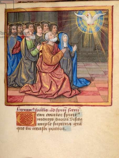 Ms 45 fol.31r Pentecost, from Preces Variae, c.1500 (gouache & bodycolour on vellum)