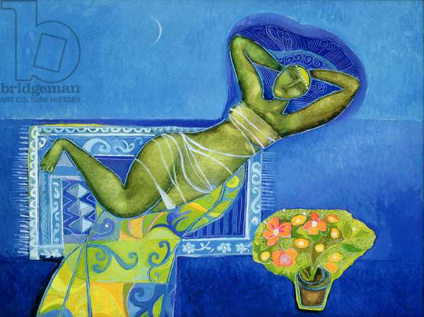 Reclining Lady with Flowers, 1993 (oil on canvas)