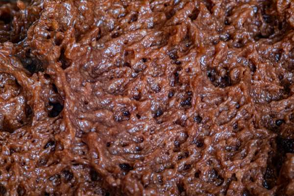 Chocolate texture, chocolate mousse seen up close, 2020 (photo)
