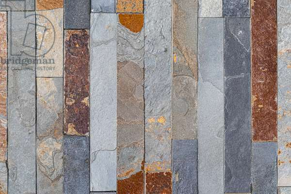 Facing texture, facing stones in pliers vertical rows, Dijon, Cote-d'Or, France, 2020 (photo)