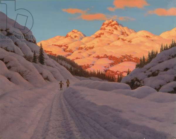 The Late Afternoon Ski Run (oil on canvas)