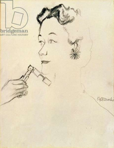 Duchess of Windsor (1896-1986) with Tiffany Lorgnette (charcoal on paper)