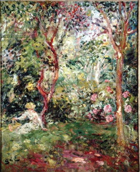 Woman in a Garden (oil on canvas)