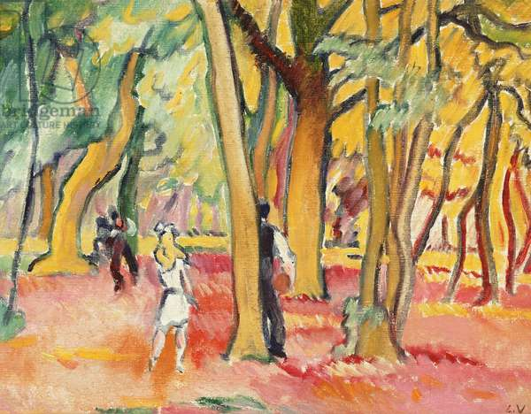 Children Playing in the Woods (oil on canvas)