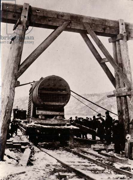 Yard no. 647, Baikal. Showing a cylindrical boiler for the ice breaking train ferry steamer 'Baikal', 1896 (b/w photo)