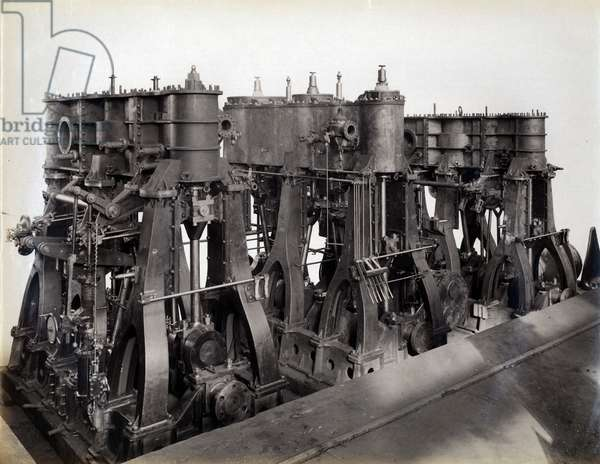 Yard no. 647, Baikal. Showing the main engines for the ice breaking train ferry steamer 'Baikal', 1896 (b/w photo)