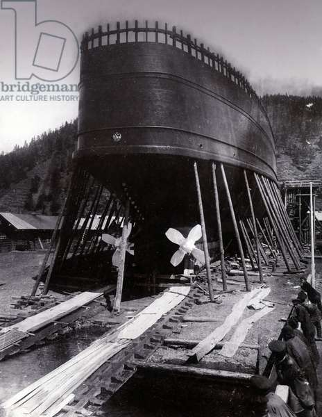 Yard no. 647, Baikal. Showing a stern view of the ice breaking train ferry steamer 'Baikal' on the stocks (b/w photo)
