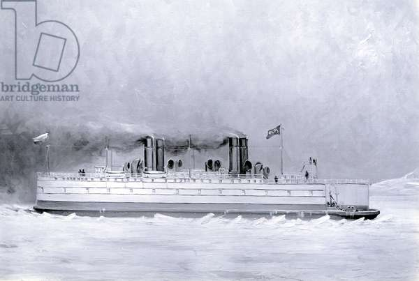 Yard no. 647, Baikal. Photograph of a painting showing the ice breaking train ferry steamer 'Baikal' in service (b/w photo)
