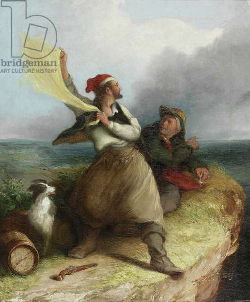 Smugglers on the Look-Out, 1850 (oil on canvas)