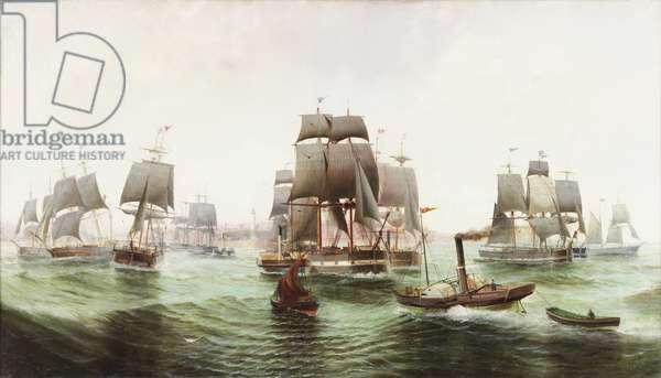 The Baltic Fleet leaving Sunderland, 1887 (oil on canvas)