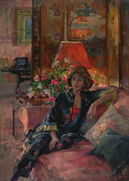 Mrs Peter Hambro, 1996 (oil on canvas)