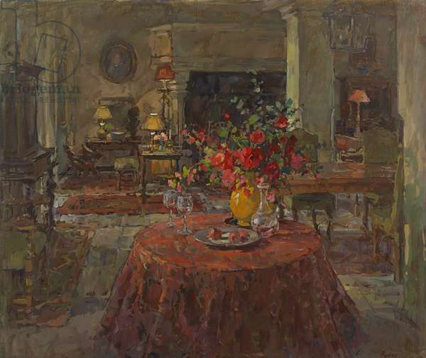 Grand Salon with Red Roses (oil on canvas)