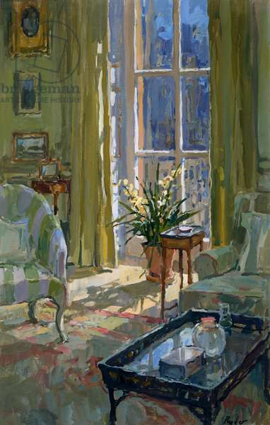 Morning Room with Orchid (oil on canvas)