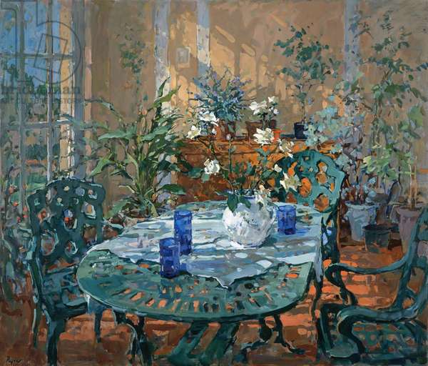 Conservatory with Blue Glass (oil on canvas)