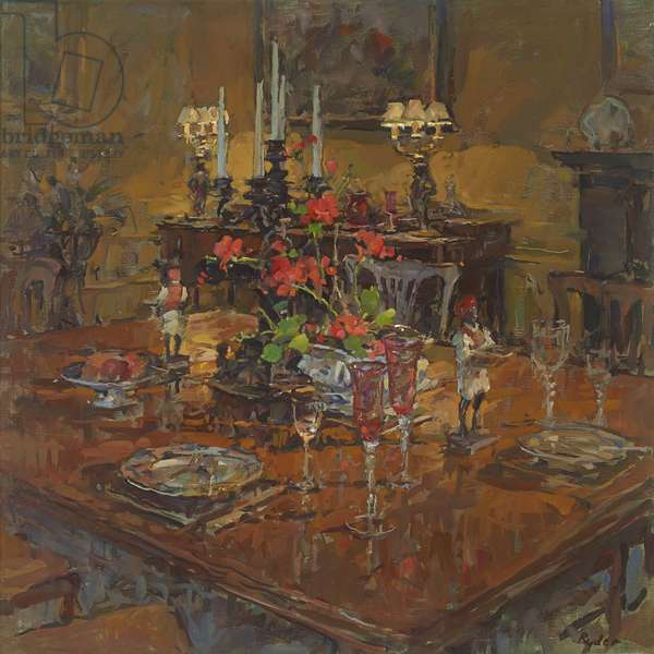 Dining Room with Geraniums (oil on canvas)
