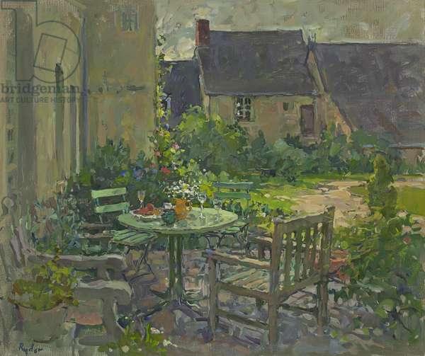 Courtyard Drinks, Champfreau (oil on canvas)