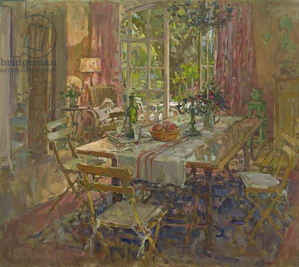 Kitchen Table, Provence (oil on canvas)