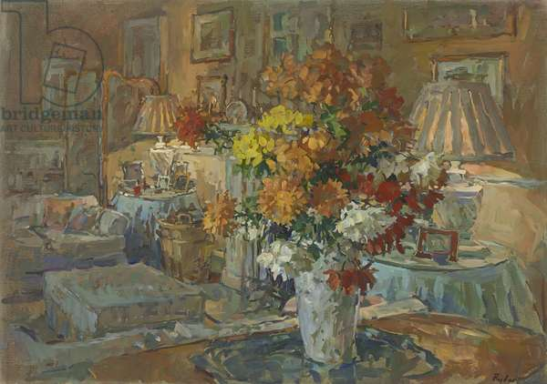 Chrysanthemums from Roddam (oil on canvas)