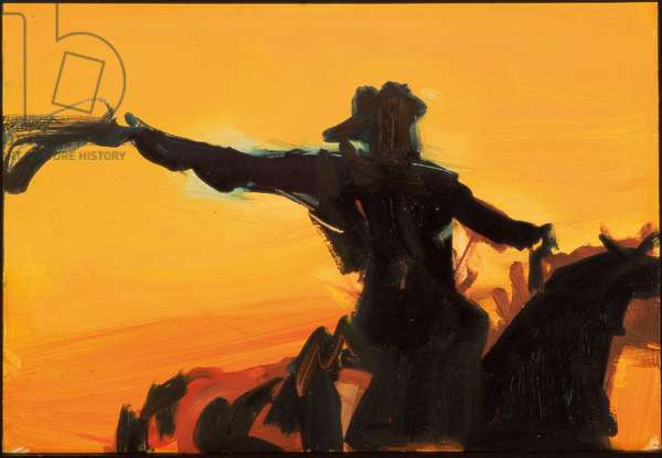 Sunset Cowboy, 1997 (oil on board)