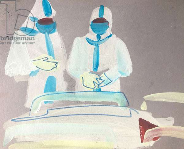 Two Doctors 5, 2020 (acrylic & pencil on paper)