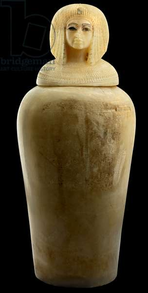 Canopic jar possibly for Kiya, secondary wife of Akhenaten, from the Valley of the Kings, New Kingdom (alabaster)
