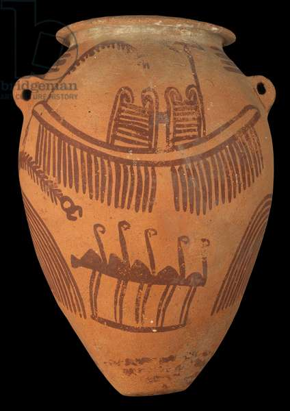 pottery vessel with coloured decoration