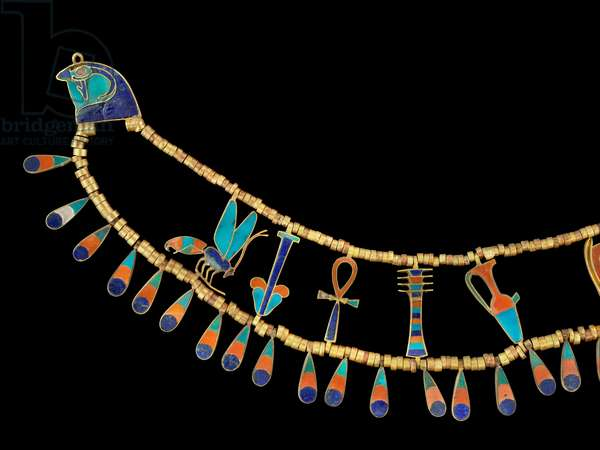 Necklace belonging to Princess Khnumit, from the Tomb of Princess Khnumit, Funerary Complex of Amenemhat II at Dahshur, Middle Kingdom (gold, carnelian, turquoise & lapis lazuli)