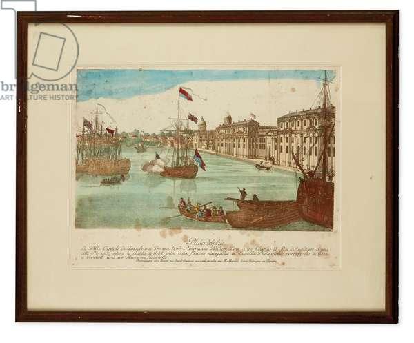 Philadelphie, la Ville Capitale de Pensylvanie, Province Nord-Americaine, c.1790s (hand-coloured engraving)