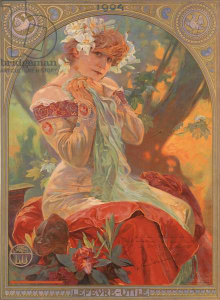 Poster with Sarah Bernhardt advertising Lefevre-Utile biscuits, 1904 (colour litho)