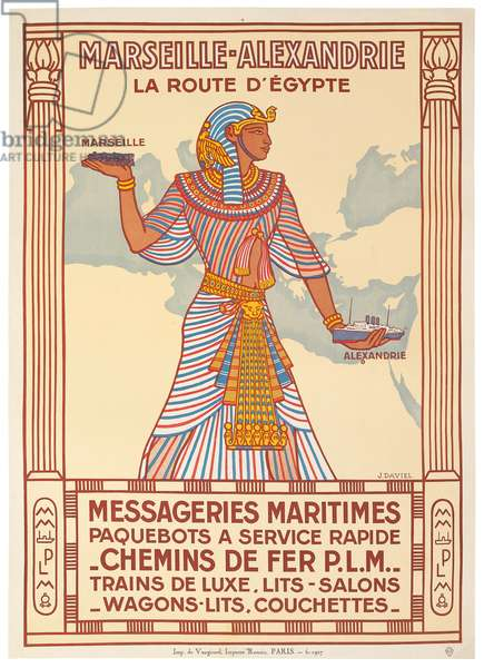 Poster advertising the train and boat route between Marseilles and Alexandria, 1927 (colour litho)