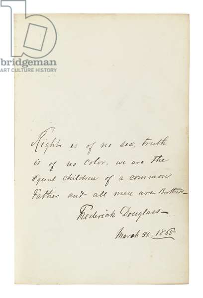 Signed quotation, page from an autograph album containing signatures of nineteenth-century abolitionists, 1868 (pen & ink on paper)
