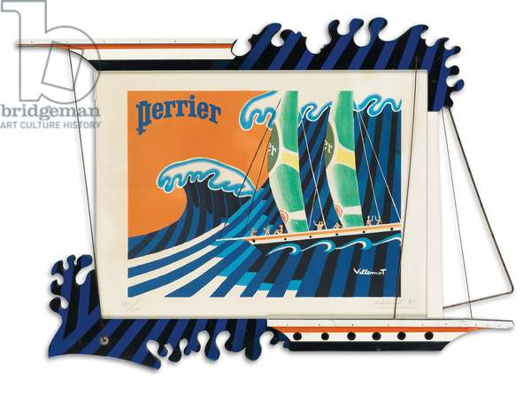 Perrier, 1981 (colour litho with wooden frame)