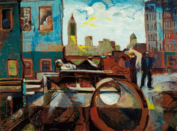 New York at Dusk, c.1935 (oil on masonite)