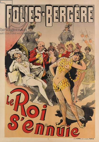 'The King is Bored', poster advertising the Folies-Bergere (colour litho)