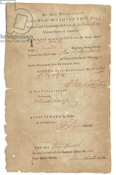 Discharge certificate of Owen Rewick of the Invalid Regiment, 1783 (pen & ink and print on paper)