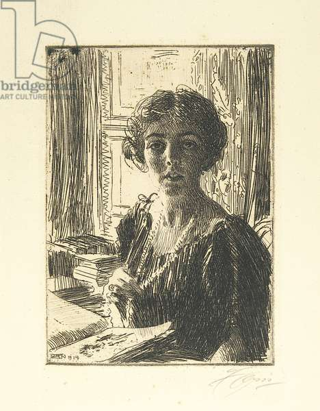 The Crown Princess Margaret of Sweden, 1914 (etching)