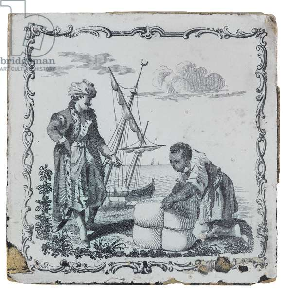 Antique tile depicting a slave scene, late 18th-early 19th century (glazed ceramic)