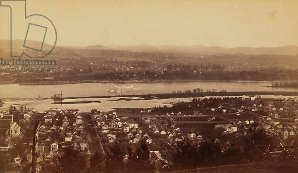 Boudoir card depicting the Columbia River, 1870s (albumen print)