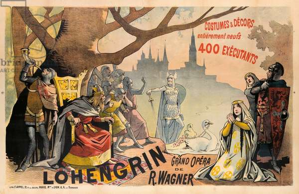Poster advertising Wagner's 'Lohengrin', c.1891 (colour litho)