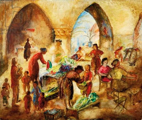 Market Scene (oil on panel)