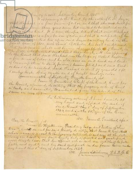 Rachel Jackson's free papers, Fayette County, KY, 1846 (pen & ink on paper)
