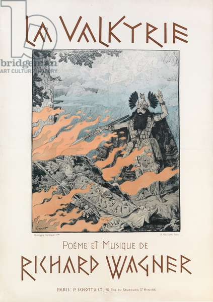 Cover of the score of 'La Valkyrie', c.1893 (colour litho)