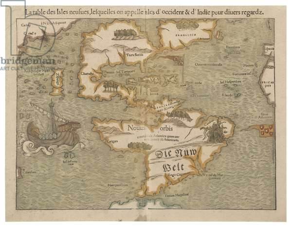 Map of the New World, c.1556 (hand-coloured wood engraving)