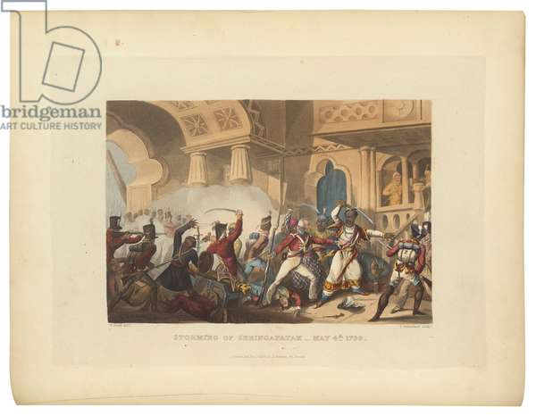 The Storming of Seringapatam, May 4 1799, illustration from 'The Martial Achievements of Great Britain and Her Allies from 1799 to 1815', 1815 (hand-coloured aquatint)