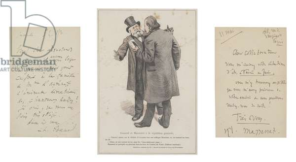 Two letters with a double portrait of Charles Gounod and Jules Massenet (pen & ink on paper with colour litho)