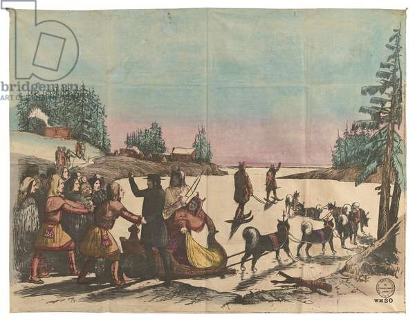 Sledge drawn by dogs - return of the missionary, c.1876 (hand-coloured litho on cotton)