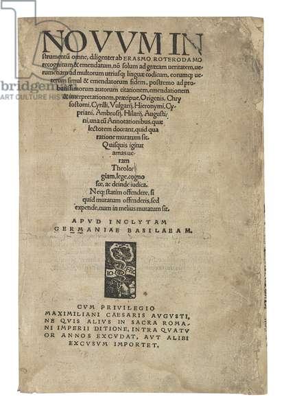 Novum Instrumentum Omne, 1516 (ink on paper) (see also 363088)